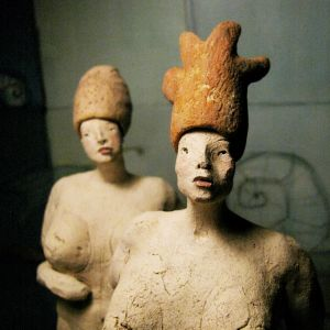 Two Women in Hats, 26- 27 cm