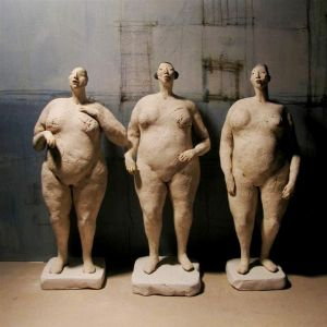 Three Women, nude, standing, 34-35 vm