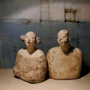 Busts, Couple, 18- 19 cm