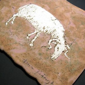 Aries, drawing on clay