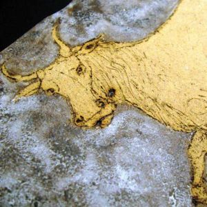Bull, drawing on clay