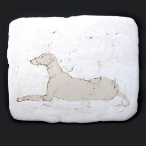 Dog, drawing on clay