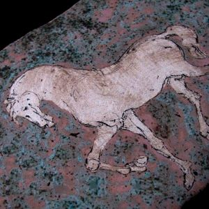Horse, drawing on clay