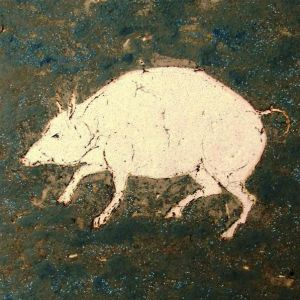 Pig, drawing on clay